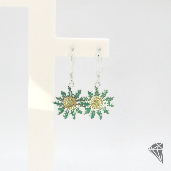 pendientes-plata-largos-eguzkilore-esmalte-verde-15mm