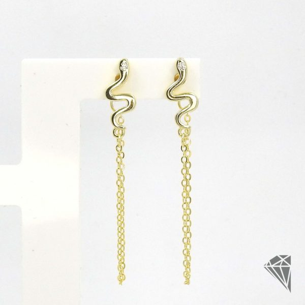 pendientes-plata-dorada-serpiente-con-cadena